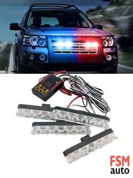 Kırmızı Mavi 4'lü Çakar Set - LED Uyarı Lambaları