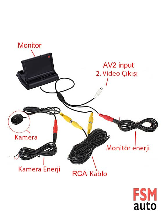 katlanabilir lcd ekranlı geri görüş kamerası