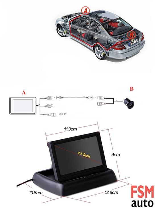4.3 inc ekranlı geri vites kamerası