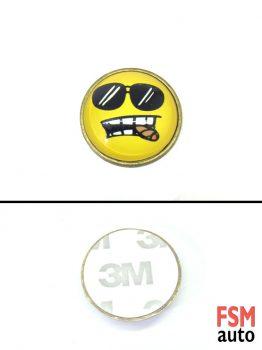 Gözlüklü Purolu Smile Yuvarlak Metal Damla Logo