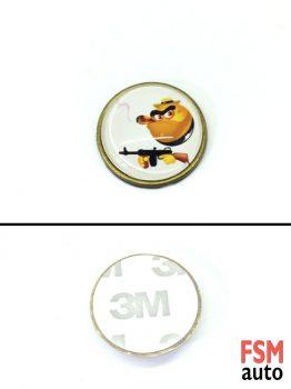 Tüfekli Smile Yuvarlak Metal Damla Logo