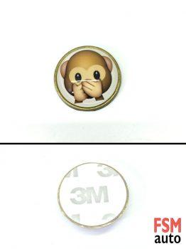 Dilsiz Maymun Yuvarlak Metal Damla Logo
