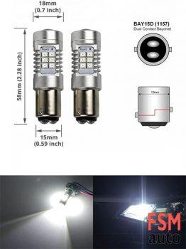 Yeni Tip Beyaz Mercekli 1016 P21/5W Soket Girişli LED Ampul Çift Duy