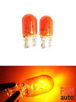 T10 Dipsiz Halojen Ampul Amber 12 Volt - W5W