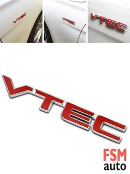 VTEC Metal Kırmızı Yazı Paslanmaz Metal Sticker